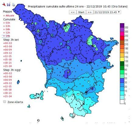 livelli pluviometrici in Toscana 22/12/19 ore 10.40